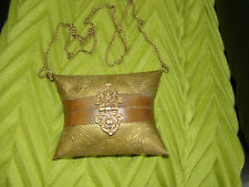 ANTIQUE & RARE VICTORIAN~EDWARDIAN SOLID HAMMERED BRASS PURSE BAG w/ORNATE CLASP