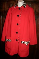 Penguin vintage wool rockabilly coat M/L/12 red animal print  pin up mod 1950's
