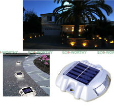 4 Pack Solar Pathway LED Marker White Light Driveway Garden Road Dock Pool