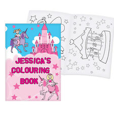 Childrens Pink PRINCESS Personalised Colouring Book - Girls Gift - Free Delivery