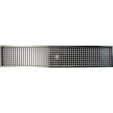 """35 7/8"""" Flanged Mount Drip Tray - Stainless Steel - With Drain - Draft Beer Bar"""
