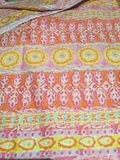 Yellow, pink, orange, Floral, patchwork fabric, Fat Quarter, 100% Cotton, Craft