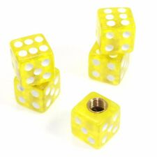 Set of 5 Clear Yellow Dice Tire/Wheel Air Stem Valve Caps for Car-Truck-Hot Rod