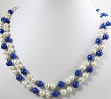 2 Rows Genuine White Pearl Lapis Lazuli Beads White Gold Plated Clasp Necklace