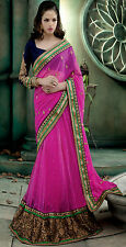 New Pink Indian Designer Party Wear Lehenga Saree Bollywood Bridal Wedding Sari