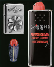 Zippo Cadeau set Good Luck-Clover satin chrome M. essence u. feu pierres NEUF