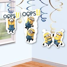6 x Minions Hanging Swirls Party Decorations Minions Birthday Party Supplies