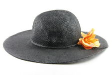BLACK LADIES DERBY/BOWLER STYLE STRAW HAT WITH ORANGE FLOWER RETRO (HT24)