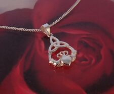 """Brand New Sterling Silver Claddagh Necklace on an 18"""" Chain - Gift Boxed"""