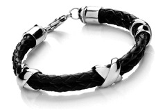 Designer - Tribal Steel - Ladies black leather & Stainless steel Kiss bracelet