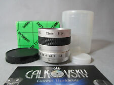 MINT NEW GLASS! COSMICAR FAST 1.4/25MM C-MOUNT LENS DIGITAL MOVIE CAMERA or CCTV