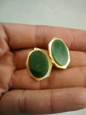 Nice vintage antique art deco Weh green jade  gold filled  cufflinks