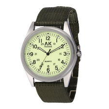 AK Military Army Green Nylon Band Men's Night Vision Face Sport Quartz Watch