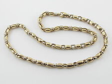 "14K YELLOW AND WHITE GOLD BULLET  LINK CHAIN 24""  49.7 grams"