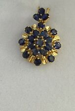 14k Solid Yellow Gold Cluster Pendant 5.20CT Natural Sapphire