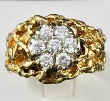 """14k Yellow Gold Vintage """"Nugget"""" Diamond Ring with .80ct, 14 Grams! ~ Size 10.75"""