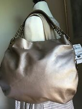 Michael Rome Metallic Gold Leather W/ Chain Accent Handle NWT MSRP $135