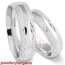 MATCHING ARGENTIUM SILVER WEDDING RINGS 5MM & 6MM FREE ENGRAVING (SIZE I - Z+3)