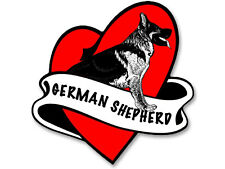 3x5 inch Heart Banner GERMAN SHEPHERD Sticker -decal dog love mom tattoo shaped