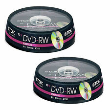 20 TDK  DVD-RW 4.7 GB (4x) 120Min DVD Rewritable t19525 Spindle/Cake Box