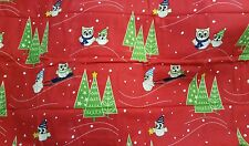 OWL TREE RED GREEN 2 FLANNEL KING PILLOWCASES COTTON WINTER CHRISTMAS BED DECOR