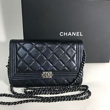 CHANEL Le Boy Quilted Pearl Navy Blue Lambskin WOC Wallet On Chain Silver Hrdw