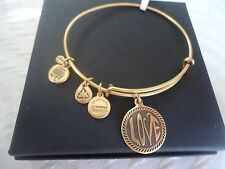 ALEX and ANI OPEN LOVE Russian Gold Finish  Bangle Bracelet New W/Tag Card & Box