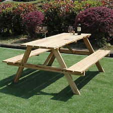6 SEATER OUTDOOR GARDEN PICNIC BENCH 5FT PUB STYLE SEATING TABLE HEAVY DUTY NEW