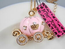 Betsey Johnson cute inlaid Crystal pink pumpkin car pendant necklace # F186