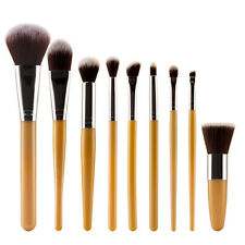 9pc Cosmetic Blusher Powder Foundation Contour Face Brushes Set Gold+Silver
