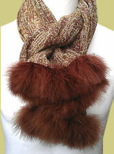 SCARF OR SHAWL 100% WOOL & SOFT DOWN TURKEY FEATHER TRIM HANDCRAFTED BY PETRUSSE