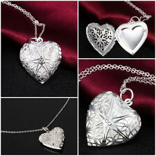 Brand New Vogue 925 Sterling Silver Necklace Pendant Love Heart  Locket Chain