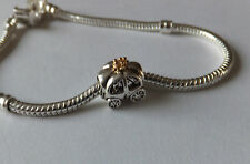 925 SILVER 'PRINCESS CARRIAGE' Gold Plate Crown CHARM.4mm screw core