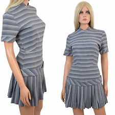 Vtg 60s MOD Mini Dress DROPPED WAIST Scooter Gogo MEGA PLEATS Grey Stripes - S
