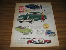 1950 Vintage Ad ''50 Ford Cars 4 Different Shown Whats in it For You?