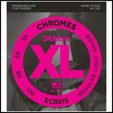D'Addario ECB81S Chromes XL Flatwound Bass Strings -Short Scale  45 - 100