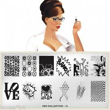 Moyou Londra stamping stencil * PRO COLLECTION XL * 16 COMIC Dots 3d