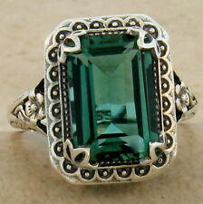 ANTIQUE STYLE SIM EMERALD 925 STERLING SILVER RING SIZE 10,                 #891