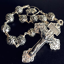 Bali Sterling Silver Beads Cross Handmade Wire Wrap one decade rosary bracelet