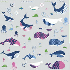 SEA WHALES wall stickers 50 decals turtle fish octopus ocean marine life decor