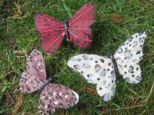 Artificial Feather Butterflies - Fancy Safari Print - Assorted Set of 3