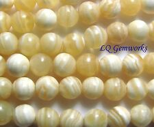 "15.5"" YELLOW LACE AGATE 10mm Round Beads"