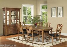 Traditional Maple Finish & Brown PU 7 Pc Dining Set Table Chairs Dining Room Set