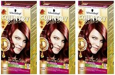 Schwarzkopf Country Colour 58 Grand Canyon Copper Red Semi-Permanent Hair Dye X3