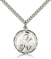 Saint Francis Of Assisi Medal For Men - 925 Sterling Silver Pendant Necklace