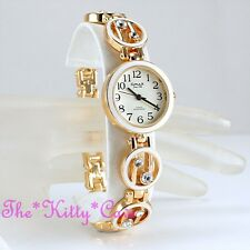 Omax Ladies Retro White Enamel Gold Pltd Swiss Brand Seiko Crystal Watch JHS434