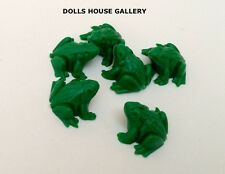Set of Six Tiny Green Frogs, Doll House Miniatures, Miniature Frogs, Toads
