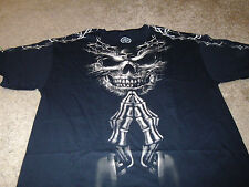 Skull Skeleton Mens DOM Black T-Shirt  Size 2XL