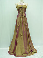 Cherlone Gold Ballgown Long Prom Bridesmaid Formal Wedding Evening Dress 12-14