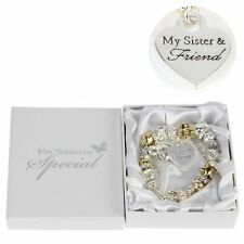 "Gold & Silver Charm Bracelet With Heart "" MY SISTER & FRIEND "" GIFT Box"
